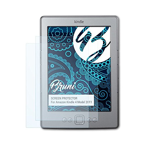 Bruni Schutzfolie kompatibel mit Amazn Kindl 4 Model 2011 Folie, glasklare Displayschutzfolie (2X)