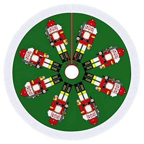 Christmas Tree Skirt,Marching Nutcrackers Polyester Tree Skirt, Winter New Year House Decoration Supplies, Xmas Tree Skirt for Christmas Decorations,36inch