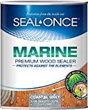 SEAL-ONCE Marine Ready Mix - 1 Gallon Penetrating Wood Sealer Waterproofer & Stain (Coastal Gray). Water-Based, Ultra-Low VOC Formula for high-Moisture Areas to Protect Wood Docks, Decks & Piers.