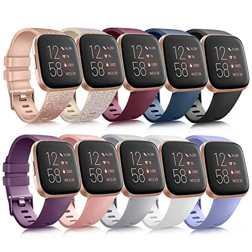 10 Pack Silicone Bands Compatible with Fitbit Versa 2 / Fitbit Versa/Versa Lite/Versa SE, Classic Soft Replacement Sport Wristbands Accessories for Women Men (Large, 10 Pack B)