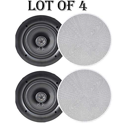Find Cheap 6.5 in-Wall/in-Ceiling Dual Stereo Speakers 200 Watt 2-Way Flush Mount White- 2 Pairs Wh...