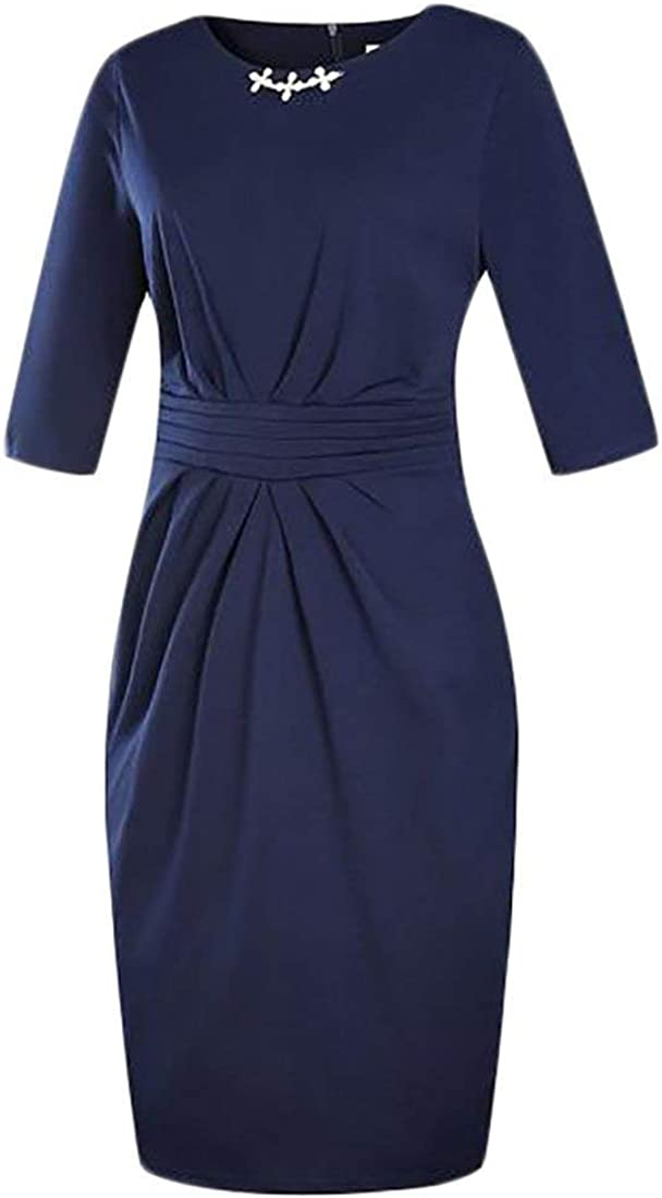 Vgvgh Women Slim Fit Knotted Plus Size Long Sleeve Pencil Midi Dress Blue US 5XL