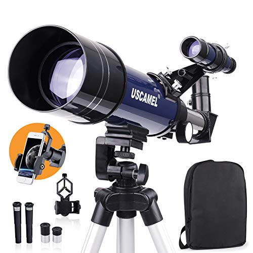 USCAMEL Telescopes for Adults,70mm Aperture 400mm AZ Mount Telescopes with Fully Multi-Coated Optics, Telescope for Kids,Telescopes for Astronomy Beginners with Backpack,Phone Adapter,Tripod
