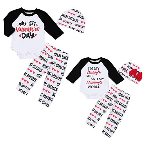 Tianhaik bebé recién Nacido bebé mi Primer día de San valentín Trajes Mameluco Pantalones Sombrero Ropa