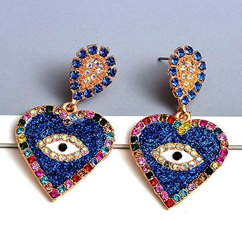 DJMJHG Pendientes Colgantes de Metal con Forma de corazón, Pendientes de Cristal Coloridos, Accesorios de joyería de Tendencia de Moda para Mujeres1