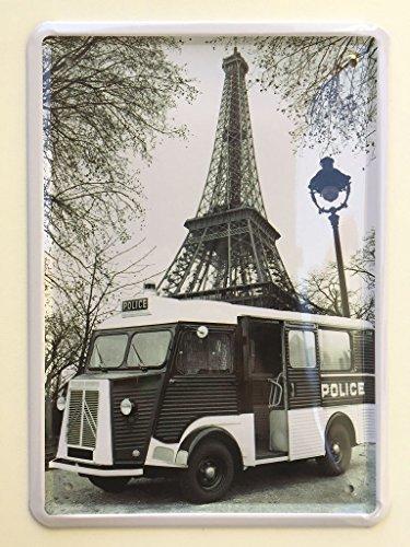 Unbekannt Deko7 Plaque décorative en métal Citroën Police Bus Paris 20 x 15 cm
