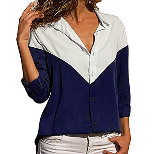 Chemise à manches longues Femmes, Toamen Rayures de bloc de couleur bouton vers le bas t-shirt Bouton Loisir Décontractée Chemisier (S, Marine)