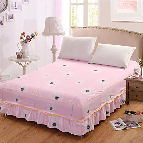 HNXCBH Bed Skirt 150 X 200CM Dandelion Wave Lace Bed Skirt Easily Fit Stretch Bunk Bed Cover For Home Hotel (Color : Natural)