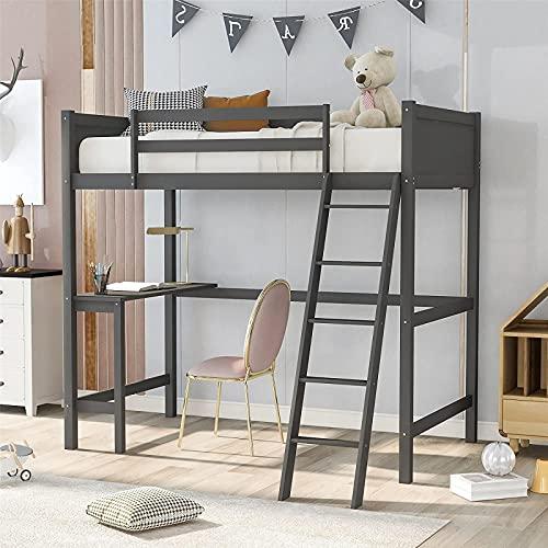 La más nueva cama tipo loft con escritorio, cama tipo loft doble de madera para niños con escalera y barandilla de seguridad Diseño de loft multifuncional para niños y adolescentes, niños y niñas