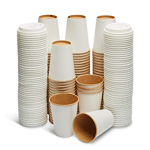 GeeOnyx Biodegradable - 12 Oz Coffee Cups - 100 Pack - Resealable Lids - Reusable - White On Brown - Food Safe - Double Insulated Wall - Heavy Paper Cup - Home/Office/Travel - Eco-Friendly