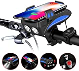 Kingsea Bicycle Headlight, Rechargeable Bike Front Light 400 Lumen 3 Modes LED Headlight 4 in 1 with Horn Phone Holder 4000mAh Rechanger Power Bank Bicycle Set for 4.0 to 6.3 inches
