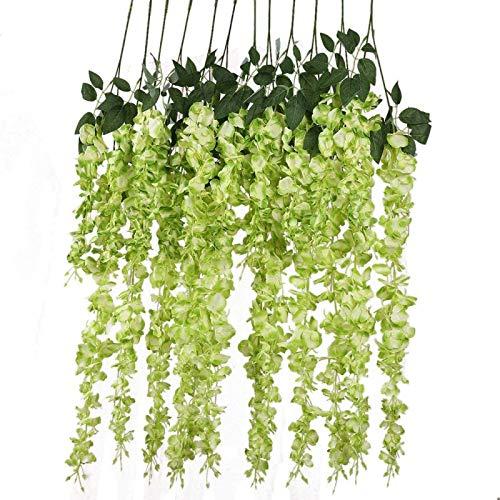 YYHMKB 12 unids / Lote 3,6 pies / Pieza Flores Artificiales Falsas Wisteria Vine Flor de Seda para Decoraciones de Boda hogar jardín Fiesta decoración Verde