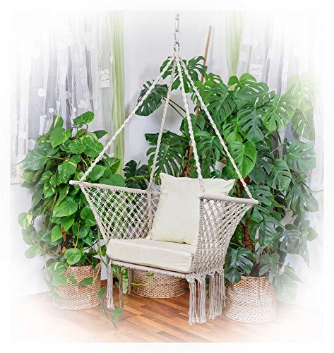 ASS Design Hängesessel Kailua Stoffsessel Hängekorb Schwebesessel mit extrem gemütlichem Kissen (ohne Holzgestell)