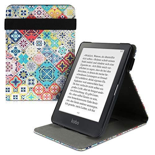kwmobile Custodia Verticale e-Reader Compatibile con Kobo Clara HD - con Fascia e leggìo - Flip Case in Pelle PU - Marocco Style Multicolor Blu/Rosso/Marrone Chiaro