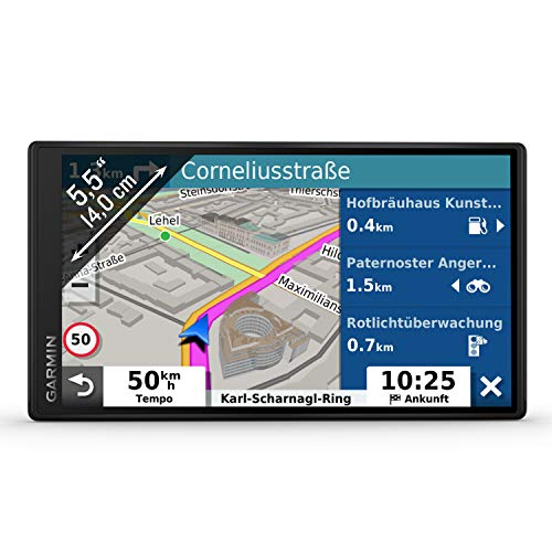 Garmin DriveSmart 55 MT-D EU Navi - Rahmenloses Touch-Display, 3D-Navigationskarten und Live-Traffic Via DAB+
