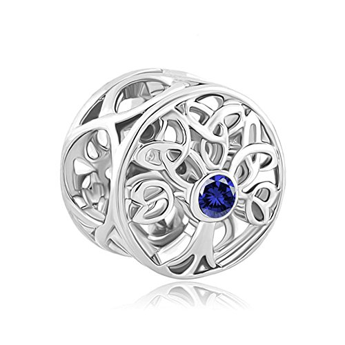 LovelyJewelry Sterling Silver Tree of Life Celtic Knot Charm JAN-DEC Crystal Beads For Bracelet (SEP Birthstone)