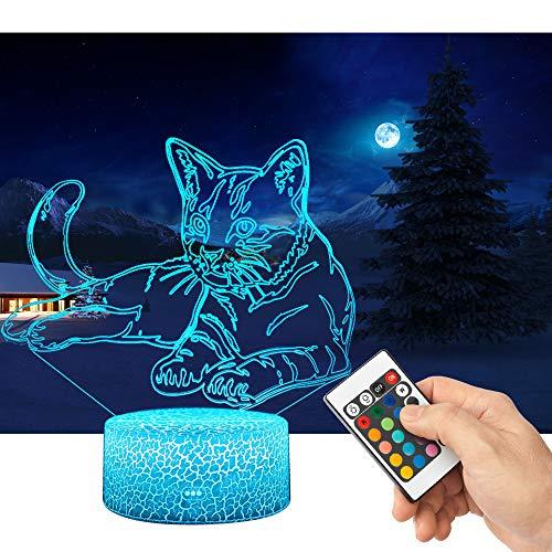 QiLiTd 3D Katze Lampe LED Nachtlicht mit Fernbedienung, 16 Farben Wählbar Dimmbare Touch Schalter Nachtlampe Geburtstag Geschenk, Frohe Weihnachten Geschenke Für Mädchen Männer Frauen Kinder
