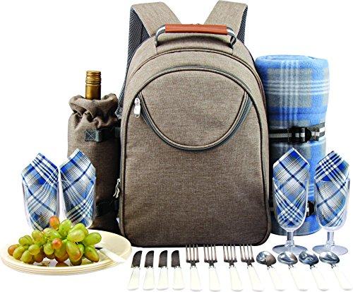 GEEZY Family Picnic Cool Bag Backpack Hamper Wine Cooler Bottle Holder...