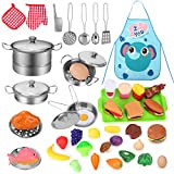 Toys for 3 Year Old Girls Boys, Play Kitchen Accessories with Stainless Steel Cookware Pots & Pans...