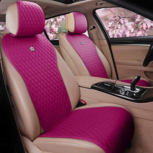 Rose Pink Seat Covers Leather Auto Seat Cushion Covers Cute Car Seat Protector 2/3 Covered 11PCS Universal Fit Car/Auto/Truck/SUV (A-Rose Pink) -  Haihong
