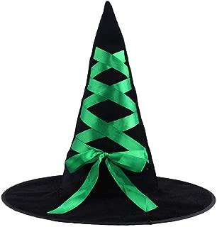 Sombrero de Halloween Accesorios de Disfraces Decoración de Bar Vestir Calabaza Bruja Cinta Cinta Sombrero de Mago Verde