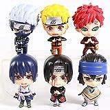 Yangzou 6 Piezas 9-11 Cm Naruto Shippuden Uzumaki Naruto Kakashi Gaara Itachi Sasuke PVC Figura De A...