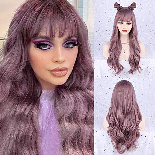 FORCUTEU Purple Wig with Bangs Long Purple Wigs for Women Purple Wavy Wigs Purple Heat Resistant Wigs for Daily Party Cosplay Purple 26inch