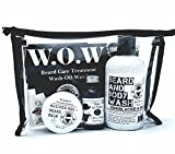 Famous Beard Oil Hydrating Beard Care WOW Kit Sage Da Vinci - Includes Beard Balm, Beard Oil and Beard and Body Wash