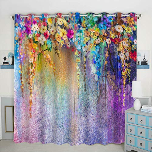 QH Purple Flower Window Curtain Panels Blackout Curtain Panels Thermal Insulated & Light Blocking 42W x 84L inch (Set of 2 Panels)