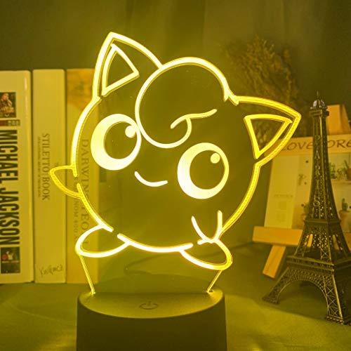 Solo 1 pieza Go Cute Jigglypuff Figure 3d Led Night Light para niñas Dormitorio Decoración Color cambiante Luz Led Cool Cumpleaños Regalo Lámpara de escritorio