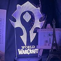 3DナイトライトゲームWarcraftHordeフラグカラー子供用ナイトライトの変更ベビーベッドルームの装飾タッチセンサーLEDランプすごいギフト-7色リモコンなし