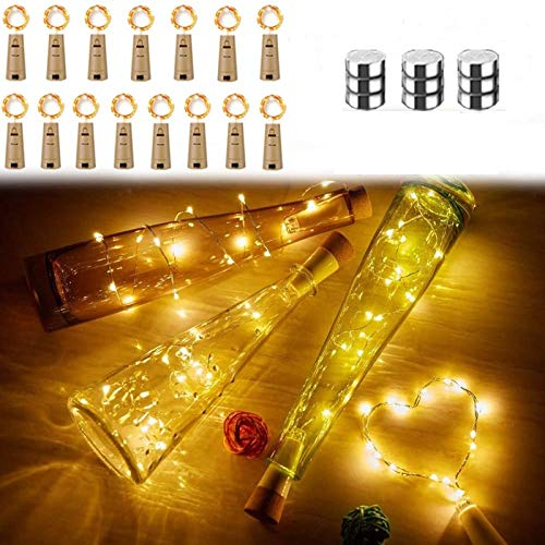 15 Pack Bottle Lights Cork Shaped Micro 20 LED String Lights Battery Operated Wine Lights Silver Wire Fairy Mini DIY Light for Party Birthday Xmas Wedding Table Décor (Warm White+ Extra 9 Battery)