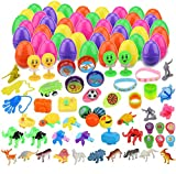 YEAHBEER 100 Pack Toys Filled Easter Eggs,Prefilled Plastic Easter Eggs with Different Kinds of Little Toys,for Easter Theme Party Favor,Basket Stuffers Fillers, Easter Eggs Hunt (100 Set)