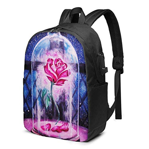 AOOEDM USB Backpack 17 in Beauty Beast Rose Laptop Backpack- with USB Charging Port/Stylish Casual Waterproof Backpacks Fits Most 17/15.6 Inch Laptops and Tablets/for Work Travel School