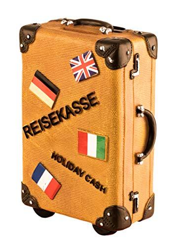 wurmbigdean Spardose Koffer in Leder-Braun aus Polyresin - 15 x 10 x 5,5 cm - Reisekasse für Geldsparer - Robust & stabil - Handbemalt - Für Globetrotter & Viel-Reiser - Ideales Geldgeschenk