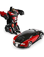 Transformation Car Toy Bugatti Car Robot for Kids, RC Car One Button Transforms into Robot, Remote Control Transforming Robot (Red)
