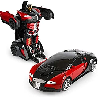 Transformation Car Toy Bugatti Car Robot for Kids, RC Car One Button Transforms into Robot, Remote Control Transforming Robot (Red)