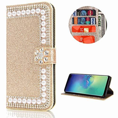 Miagon Hülle Glitzer für Samsung Galaxy S20,Diamant Strass Perle Blume PU Leder Handyhülle Ständer Funktion Schutzhülle Brieftasche Cover,Gold