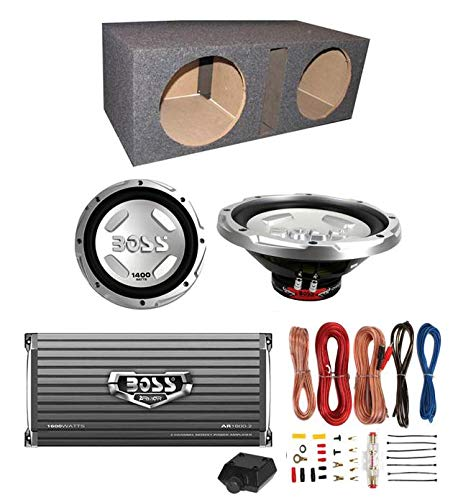 "BOSS CX122 12"" 3000W Car Subwoofers + Sub Box + 1600W Amplifier + Amp Kit"
