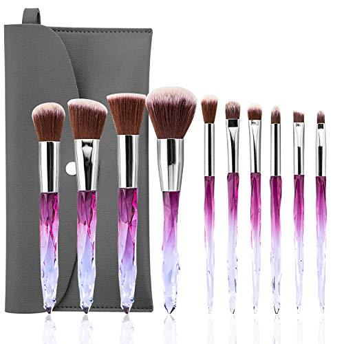 Makeup Pinsel, BenRich 10 Stück Make-up Pinselset Premium Synthetischer für Foundation Lidschatten Augenbrauen Concealer Blush Kosmetikpinsel Kit mit PU Ledertasche (Farbverlauf Lila)