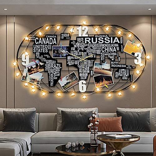 BCXGS Orologio da Parete Creativo 3D Mappa del Mondo in Metallo con luci a LED, Ampio Soggiorno Ufficio Camera da Letto Decorativo Orologio da Parete Orologio,52x100cm