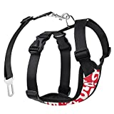 Pawaboo Dog Safety Vest Harness, Pet Car Harness Vehicle Seat Belt with Adjustable Strap and Buckle Clip, Easy Control for Driving Traveling Safety for Small Medium Dogs Cats, Small, RED & White
