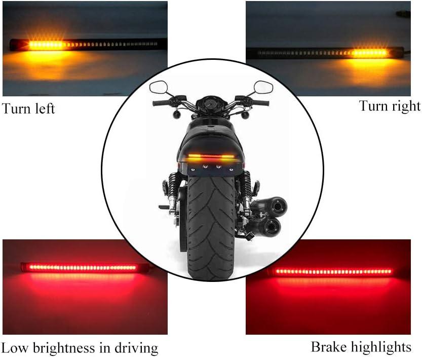 Yifengshun Motorcycle Harley Cruise Prince Car Modified Retro Fence LED Tail Light Brake Light 12V Running Driving Lights License Plate Light Black Round Metal Bracket