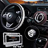 5 Pack Bling Car Accessories Set, Bling Steering Wheel Cover for Women Universal Fit 15 Inch, Bling License Plate Frame for Women, Bling Dual USB Car Charger(QC 3.0), Rhinestone Car Decor Set