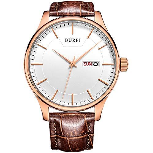 BUREI heren quartz-horloges Klassieke eenvoudige zwarte/witte wijzerplaat Dagkalender Lederen/roestvrijstalen band
