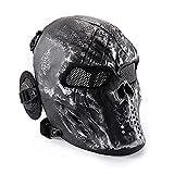 Wwman Máscara Táctica CS Airsoft de Cara Completa con Diseño de Calavera de, para Halloween, Cosplay, con Protección para Los Oídos, Gris-Plata
