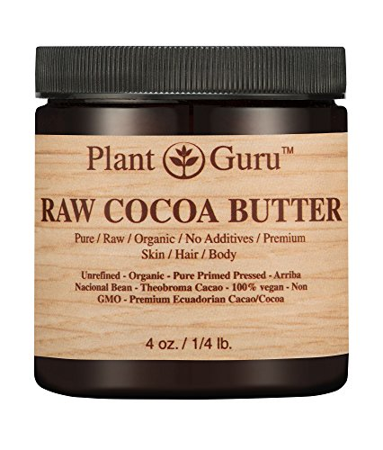 Raw Cocoa Butter 4 oz. 100% Pure Fresh Natural Cold Pressed. Skin Body and Hair Moisturizer, DIY Creams, Lip Balm, Lotion and Soap Making