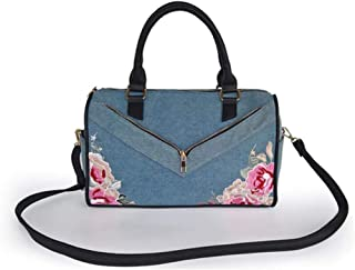 Denim pillow bag, simple messenger bag, embroidered handbag, a must-have item when going out, dark blue and light blue are available, pu material (Color : Light blue, Size : One size)