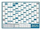 XXL Wandkalender/Wandplaner 2021 (blau) gerollt/DIN A0 Format (1189 x 841 mm) mit 14 Monaten, kompletter Jahresvorschau 2022 und Ferientermine/Feiertage aller Bundesländer