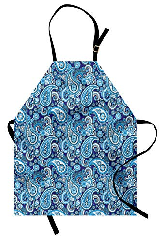 Ambesonne Paisley Apron, Traditional Pattern Design with Flowers Leaves and Dots Blue Backgrounded Artwork, Unisex Kitchen Bib with Adjustable Neck for Cooking Gardening, Adult Size, Blue